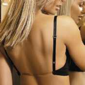 "Clear Back Push Up Bra ""Bijou"" (Black)"